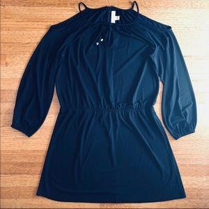 NAVY BLUE COLD SHOULDER DRESS